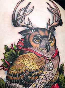highly detailed tattoo of an owl